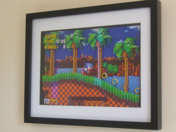 Sonic the Hedgehog Green Hill Zone 3D Diorama Shadow Box