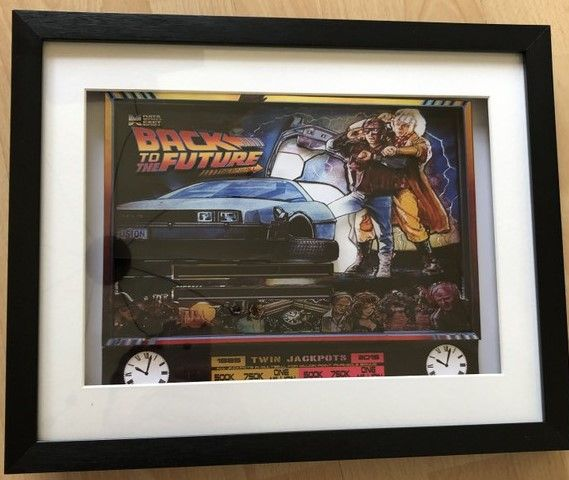 Back to the Future Pinball Backglass 3D Diorama Shadow Box Art