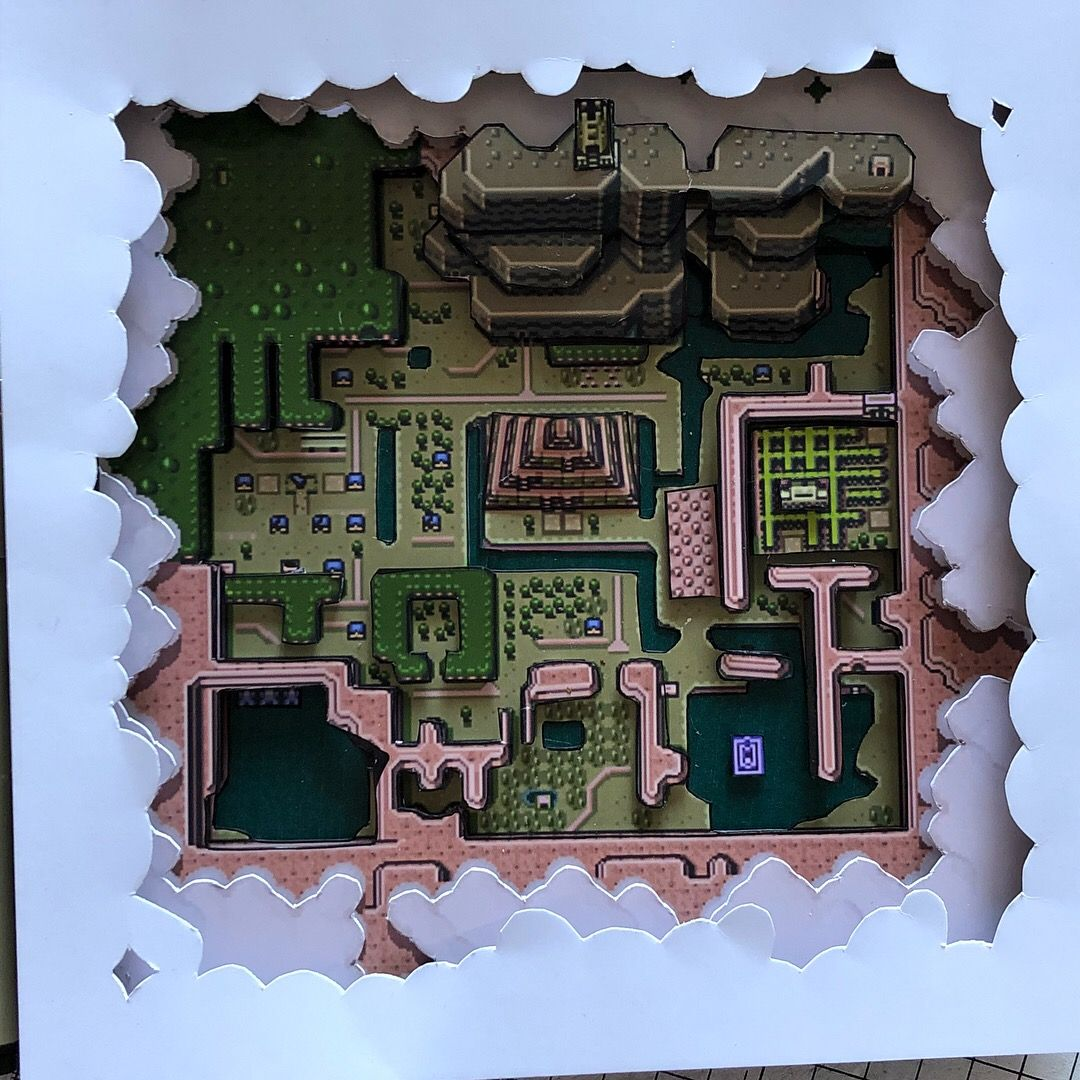A Link To The Past Dark World Map.Legend Of Zelda Hyrulian Map Dark World 3d Diorama Shadow Box