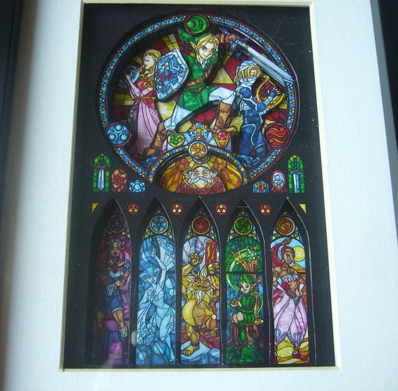 Legend of Zelda Ocarina Seven Sages Stained Glass 3D Shadow Box