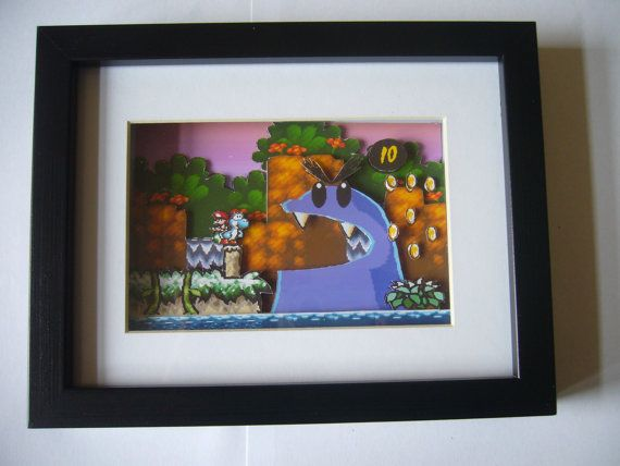 "Yoshi's Island "" Big Blue Thing ""  3D Diorama Shadow Box"