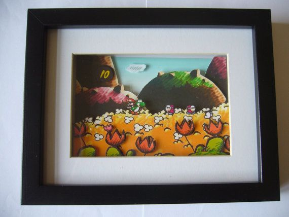 Yoshi's Island Orange Meadow 3D Diorama Shadow Box